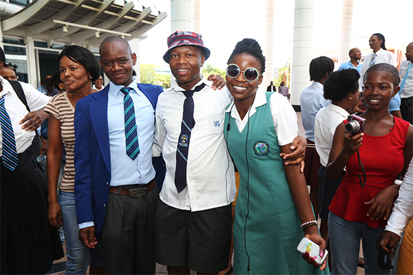Botswana Ministry of Health employees dressed as students for Back-to-School Day